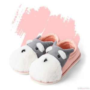 Schnauzer Love Warm Indoor Plush SlippersSlippersPink - Closed Heel6