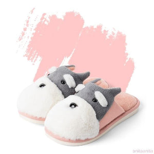 Schnauzer Love Warm Indoor Plush SlippersSlippersPink - Open Heel8
