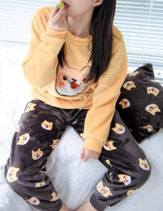 Shiba Inu For Life Thick Fleece Pajamas SetPajamas