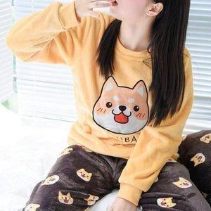 Shiba Inu For Life Thick Fleece Pajamas SetPajamasAs in ImageM