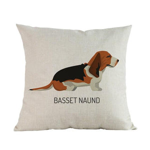 Side Profile Boxer Cushion CoverCushion CoverOne SizeBasset Hound