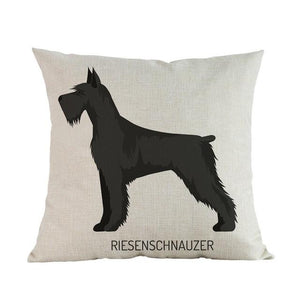 Side Profile Boxer Cushion CoverCushion CoverOne SizeSchnauzer - Giant