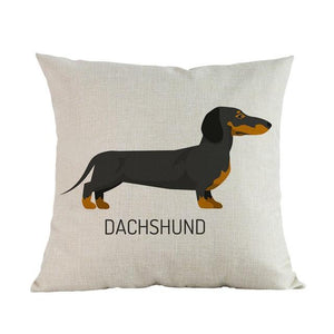 Side Profile White Poodle Cushion CoverCushion CoverOne SizeDachshund