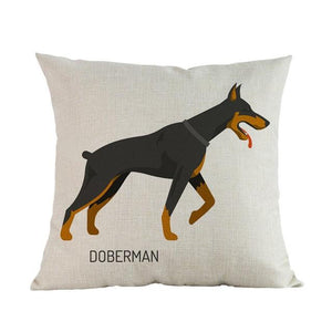 Side Profile White Poodle Cushion CoverCushion CoverOne SizeDoberman