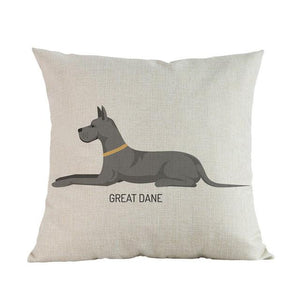 Side Profile White Poodle Cushion CoverCushion CoverOne SizeGreat Dane