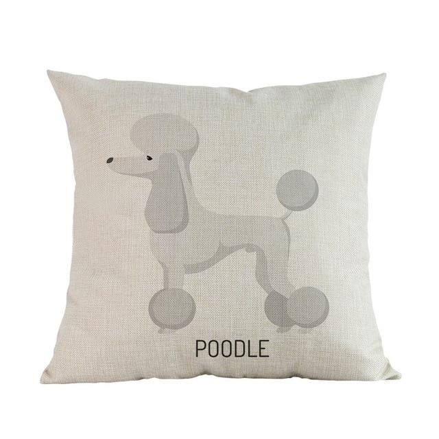 Side Profile White Poodle Cushion CoverCushion CoverOne SizePoodle
