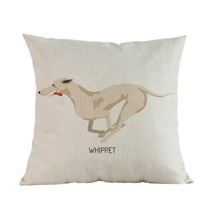 Side Profile White Poodle Cushion CoverCushion CoverOne SizeWhippet