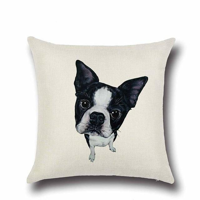 Simple Boston Terrier Love Cushion CoverHome DecorBoston Terrier