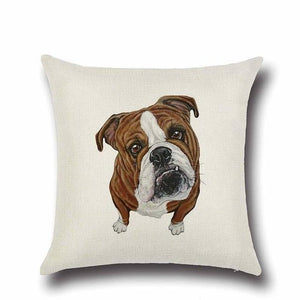 Simple Chocolate Brown Labrador Love Cushion CoverHome DecorEnglish Bulldog