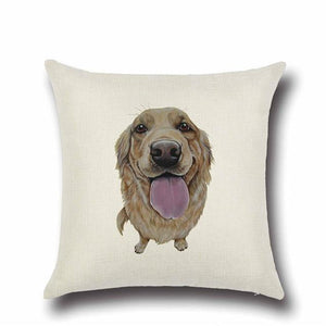 Simple Chocolate Brown Labrador Love Cushion CoverHome DecorGolden Retriever - Option 1