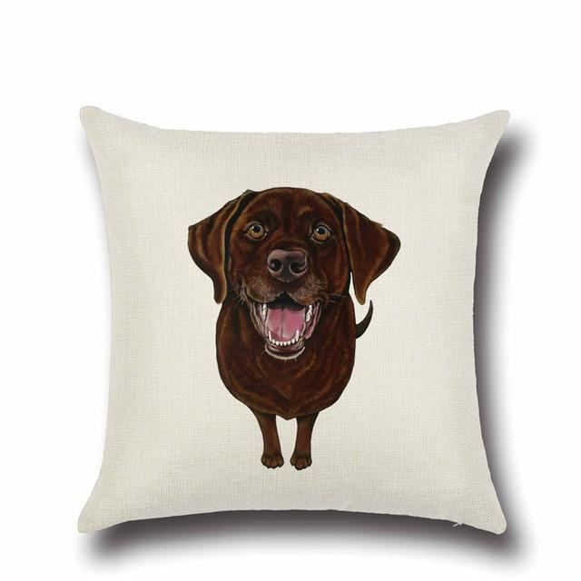 Simple Chocolate Brown Labrador Love Cushion CoverHome DecorLabrador - Brown