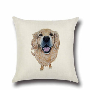 Simple Golden Retriever Love Cushion CoverHome DecorGolden Retriever - Option 2