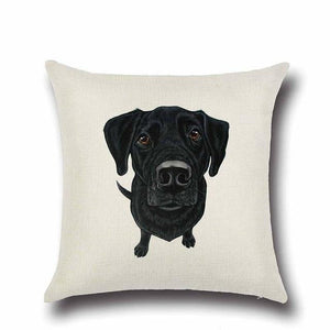 Simple Schnauzer Love Cushion CoverHome DecorLabrador - Black