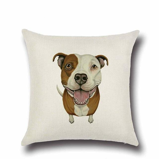 Simple Staffordshire Bull Terrier Love Cushion CoverHome DecorPit Bull