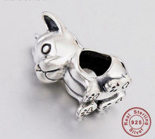 Load image into Gallery viewer, Sitting French Bulldog Love Silver Charm BeadDog Themed Jewellery