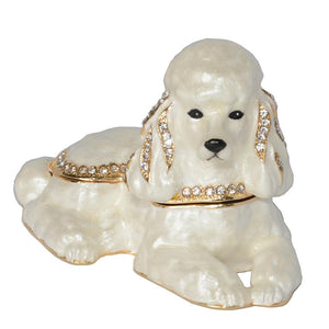 Sitting White Poodle Small Jewellery Box FigurineDog Themed Jewellery
