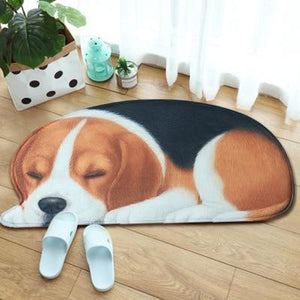 Sleeping Border Collie Floor RugMatBeagleSmall