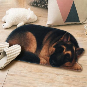 Sleeping Border Collie Floor RugMatGerman SheoherdSmall