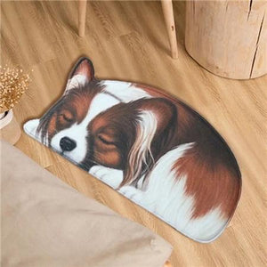 Sleeping Border Collie Floor RugMatPapillonSmall