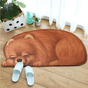 Sleeping Border Collie Floor RugMatPomeranianSmall
