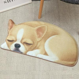 Sleeping Boston Terrier / French Bulldog Floor RugMatChihuahuaSmall