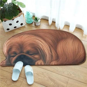 Sleeping Boston Terrier / French Bulldog Floor RugMatPekingeseSmall