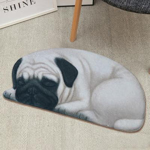Sleeping Boston Terrier / French Bulldog Floor RugMatPugSmall
