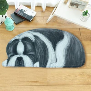 Sleeping Boston Terrier / French Bulldog Floor RugMatShih TzuSmall
