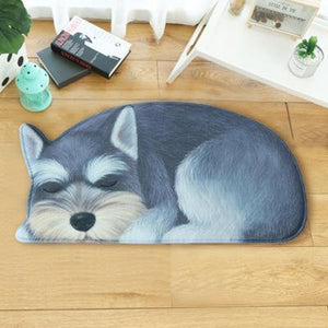 Sleeping Rough Collie Floor RugMatSchnauzerSmall