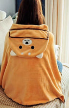 Load image into Gallery viewer, Husky and Akita / Shiba Inu Hooded Plush Cloak BlanketBlanketOne SizeOrange