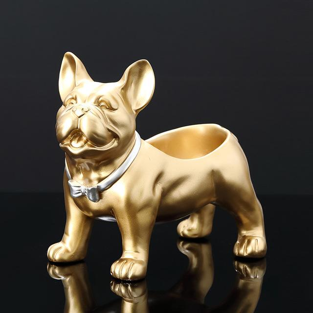 Smiling Golden French Bulldog Tabletop Organiser StatueHome Decor