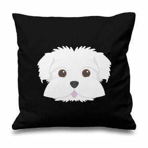 Smiling Maltese Multicolor Cushion CoversCushion CoverBlack