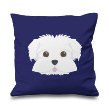 Load image into Gallery viewer, Smiling Maltese Multicolor Cushion CoversCushion CoverDeep Blue