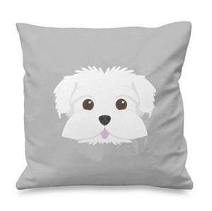 Smiling Maltese Multicolor Cushion CoversCushion CoverGray