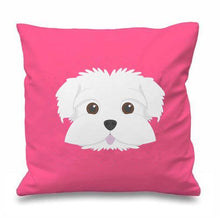 Load image into Gallery viewer, Smiling Maltese Multicolor Cushion CoversCushion CoverPink