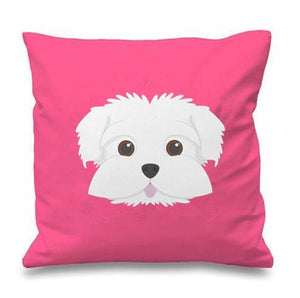 Smiling Maltese Multicolor Cushion CoversCushion CoverPink