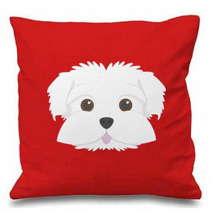 Smiling Maltese Multicolor Cushion CoversCushion CoverRed