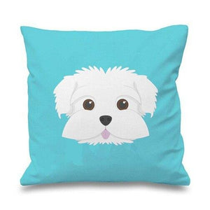 Smiling Maltese Multicolor Cushion CoversCushion CoverSky Blue