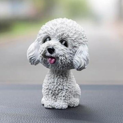 Smiling White Toy Poodle / Cockapoo / Labradoodle Resin Bobble HeadCar AccessoriesToy Poodle / Cockapoo / Labradoodle - White