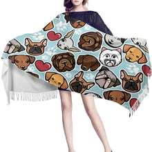 Load image into Gallery viewer, Some of the Dogs I Love Warm Winter Shawl - French Bulldog, English Bulldog, West Highland Terrier, Dachshund, Labrador, Chihuahua & Shar PeiAccessories