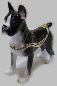 Standing Boston Terrier Small Jewellery Box FigurineDog Themed Jewellery