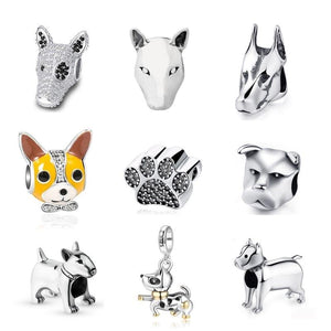 Studded Bull Terrier Silver Charm BeadDog Themed Jewellery