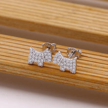 Load image into Gallery viewer, Studded Scottish Terrier Love Silver EarringsDog Themed Jewellery