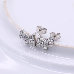 Studded Scottish Terrier Love Silver EarringsDog Themed Jewellery