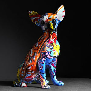 Stunning Chihuahua Design Multicolor Resin StatueHome Decor