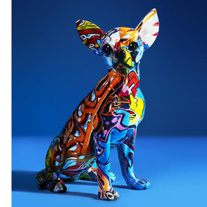 Stunning Chihuahua Design Multicolor Resin StatueHome DecorChihuahua