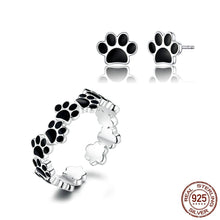 Load image into Gallery viewer, Stunning Dog Paw Print Silver Ring and Earrings SetDog Themed Jewellery