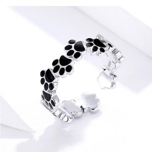 Stunning Dog Paw Print Silver Ring and Earrings SetDog Themed Jewellery