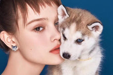 Load image into Gallery viewer, Stunning Husky Love Silver EarringsDog Themed Jewellery