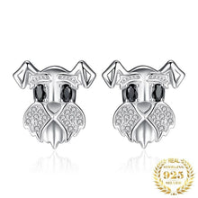 Load image into Gallery viewer, Stunning Schnauzer Face Silver EarringsDog Themed Jewellery